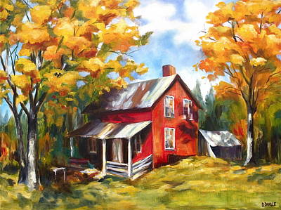 Red House In Autumn Art Print by Diane Daigle