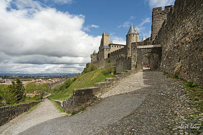 Red Jacket In Carcassonne Art Print by Robert Lacy