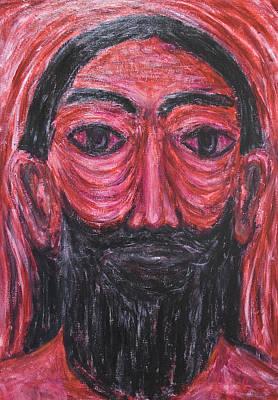 Monotone Painting - Red Jesus In Gethsemane by Kazuya Akimoto