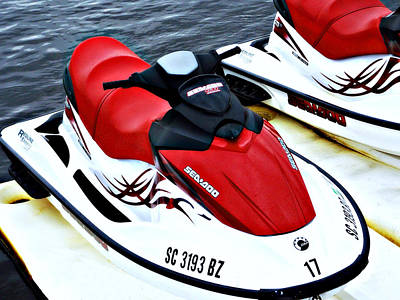 Photograph - Red Jet Ski by Sheila Kay McIntyre