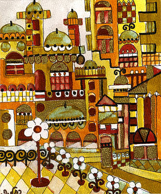 Painting - Red Kasba Skyline Landscape Art Of Old Town Dome And Minarett Decorated With Flower Arch In Orange by Rachel Hershkovitz