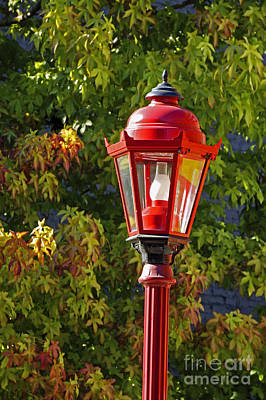 Photograph - Red Lamp Post And Autumn Leaves Vancouver Chinatown  by John  Mitchell