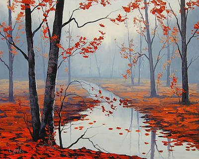Autumn Landscape Painting - Red Leaves by Graham Gercken