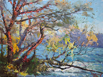 Niagara Falls Painting - Red Leaves by Ylli Haruni