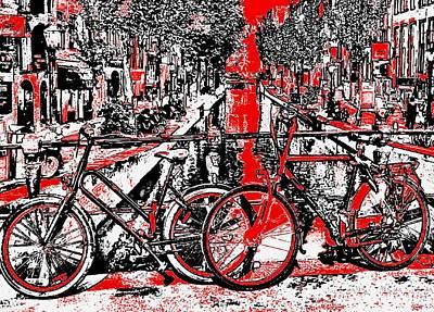 Amsterdam Digital Art - Red Lights Canal In Amsterdam by Yury Malkov