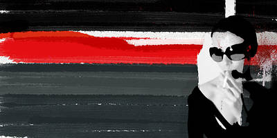 Interior Design Mixed Media - Red Line by Naxart Studio