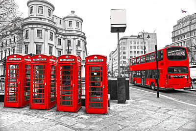 Art Print featuring the photograph Red London by Luciano Mortula