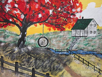 Farm Painting - Red Maple  Swing by Jeffrey Koss