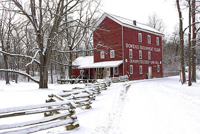 Split Rail Fence Photograph - Red Mill In Winter by Randall Nyhof