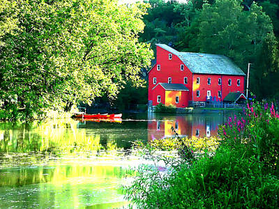Red Mill On The Lake Art Print by Artistic Photos