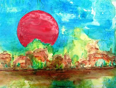 Representative Abstract Mixed Media - Red Moon 1 by David Raderstorf