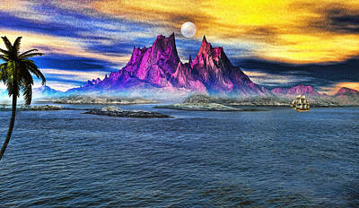 Yacht Mixed Media - Red Mountain Island by Tyler Robbins