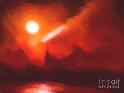 Red Mountains Art Print by Pixel Chimp