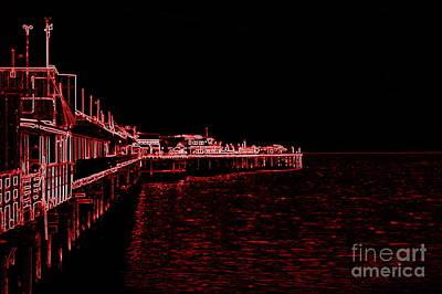 Red Neon Wharf Art Print