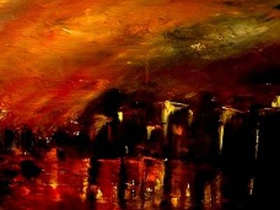 Soleil Couchant Painting - Red Night by Marchini Pierre paul
