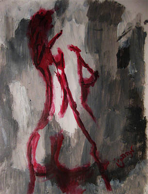 Red Nude Young Female Girl In Shades Of Melting Grey Contemporary Modern Painting Art Print