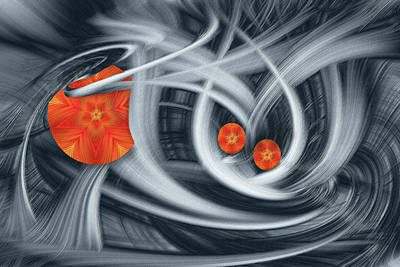 Swrils Digital Art - Red Orange Accents by Linda Phelps