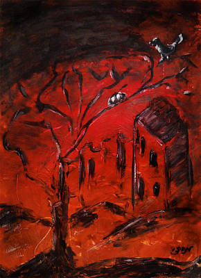 Art Print featuring the painting Red Orange Yellow Sunset With Bird Nest Castle And Tree Silhouette by M Zimmerman
