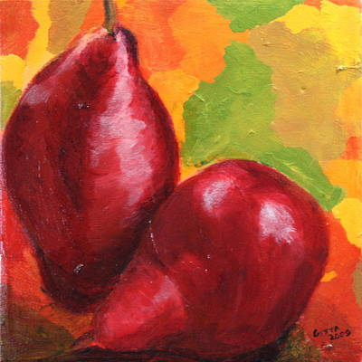 Red Pear Harvest Art Print