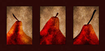 Red Pear Triptych Art Print