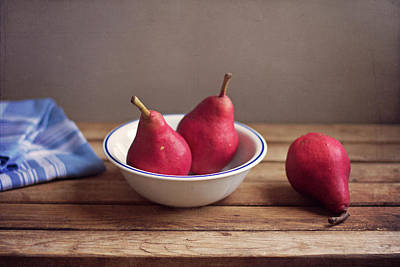 Healthy Eating Photograph - Red Pears In White Bowl by Copyright Anna Nemoy(Xaomena)