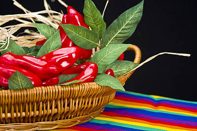 Photograph - Red Peppers In A Basket by Trudy Wilkerson