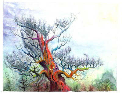 Mystical Landscape Painting - Red Pine by Bjorn Eek
