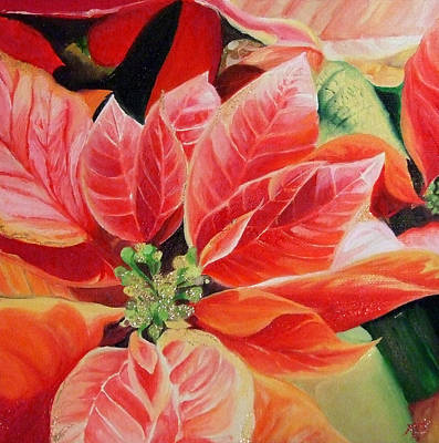 Painting - Red Poinsetta by Karen Hurst