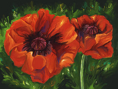 Red Poppies Art Print by Aaron Rutten