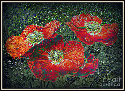 Art Print featuring the mixed media Red Poppies by Irina Hays