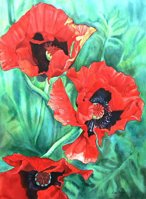 Painting - Red Poppies by Leslie Redhead