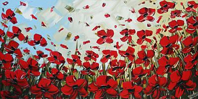 Red Poppy Field Art Print by Christine Krainock