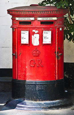 Mail Box Photograph - Red Post Box by Dawn OConnor