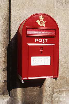Red Postbox Mounted On Wall Art Print by Jeremy Woodhouse