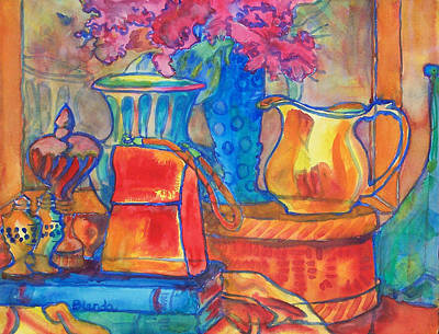 Warm Tones Painting - Red Purse And Blue Line by Blenda Studio