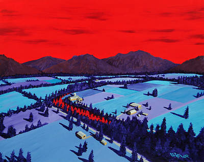 Mountain Valley Painting - Red River Valley by Randall Weidner
