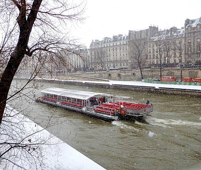 Red Riverboat On The Seine Art Print