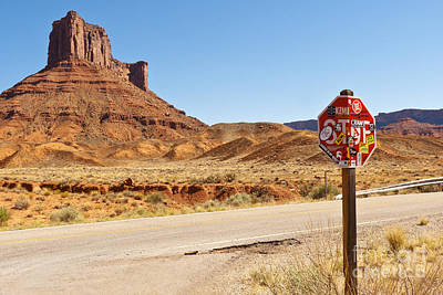 Red Rock Stop Art Print by Bob and Nancy Kendrick