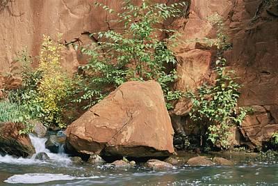 Red Rocks, Fall Colors And Creek, Oak Print by Rich Reid