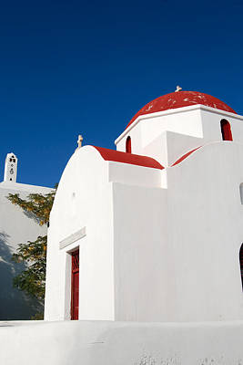 Digital Art - Red Roof Greek Church by Eva Kaufman