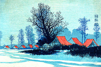 Red Roof Photograph - Red Roofs In Winter 1910 by Padre Art