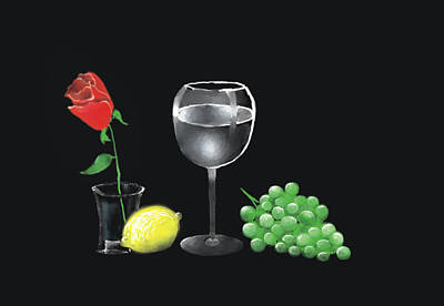 Art Print featuring the painting Red Rose And Grapes by Larry Cirigliano