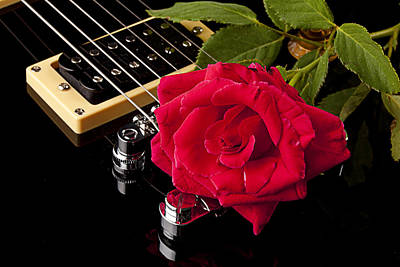 Photograph - Red Rose Black Electric Guitar by M K Miller