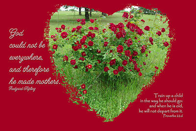 Photograph - Red Rose Heart God Made Mothers by Robyn Stacey