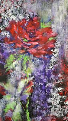 Art Print featuring the painting Red Rose In Winter by Kathleen Pio