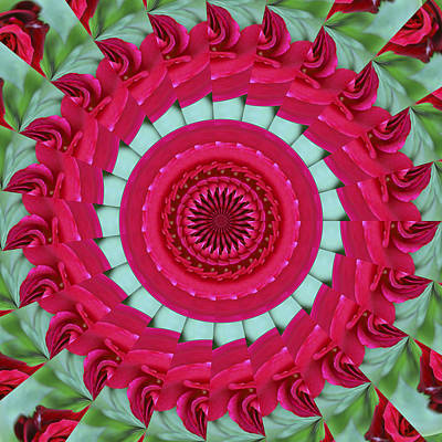 Digital Art - Red Rose Mandala by Bill Barber