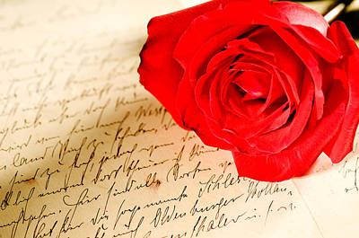 Photograph - Red Rose Over A Hand Written Letter by Ulrich Schade