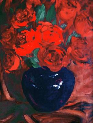 Art Print featuring the painting Red Roses Blue Vase by G Linsenmayer
