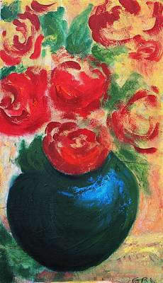Art Print featuring the painting Red Roses In Blue Vase by G Linsenmayer