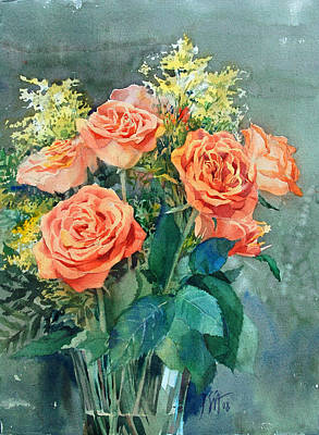 Painting - Red Roses by Peter Sit